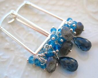 """London Blue Topaz Hoop Earrings-Rectangle Hoops-""""Maelstrom"""""""