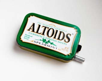 Portable Mint Tin Guitar Amp, Headphone Amp, MP3 Amp w/ Speaker, Volume Control, & 10X Gain (Spearmint Altoids)
