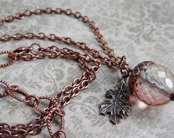 Autumn Acorn Necklace with Sparkling Czech Glass, Antiqued Copper Chain and Oak Leaf Charm