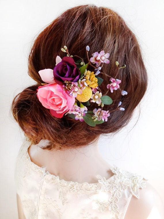 wedding hair flower clips flower hair clip wedding floral hair comb pink flower hair 9686
