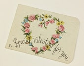 Antique c. 1950s Valentine Money Holder Card Unused | Flowers Floral Pretty Pastel Heart Sweet Retro Classic | found EPHEMERA | FOUNDbyLB