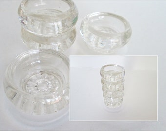 Round Salt Cellars, Beaded Pedestal, set of 5 Cut Glass Open Salt Cellars, Salt Dip Bowls Stacking Glass Dishes clear glass round top