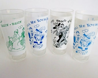 Song Lyrics Glasses, Big Top Peanut Butter, Daisy, Band Played On, Gay Nineties Music Theme Old Time Song Glass Mid Century 1950s Barware