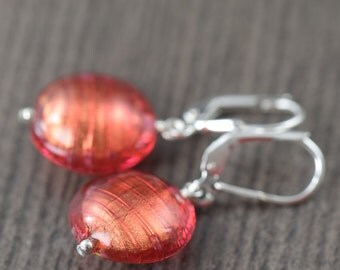 Venetian glass earrings Red earrings red Murano glass earrings gifts for her