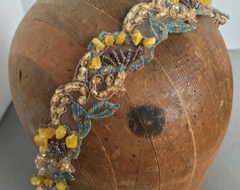 Beaded Gold, Copper, Champagne, Aqua Headband Limited Supply