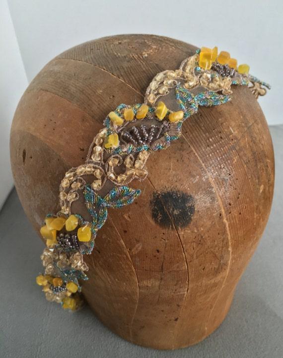 Beaded Gold, Copper, Champagne, Aqua Headband Limited Supply