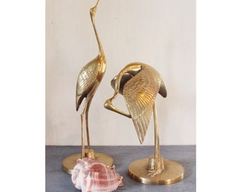 vintage brass crane bird sculptures - set of 2