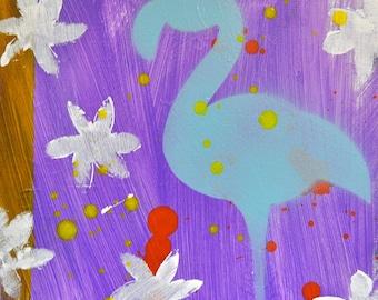 "Blue on Purple- Original Mixed Media Flamingo Painting, 10"" x 10"""