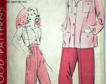 Vintage 40's Hollywood 402 Betty Grable Inspired Sewing Pattern, Shirt And Slacks, WW2 Era, Size 12, 30 Bust, H 9863