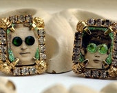 Clip-On Vintage Earrings. Miniature Altered Vintage Photograph. Miniature Picture Frames. Green and Silver. Couple.