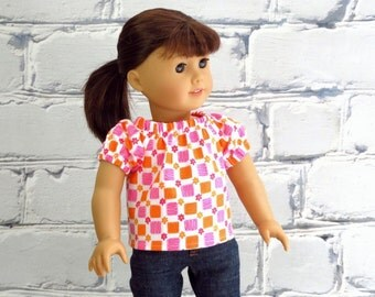 18 inch Fashion Doll Pink Orange Boho Peasant Top, American made, Girl Doll Clothes