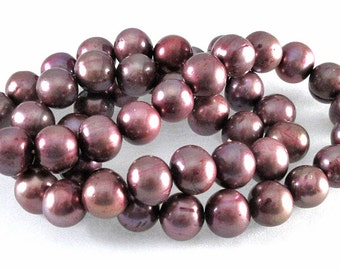 Mauve South Sea Cultured Pearls - 8mm round - 16-inch strand