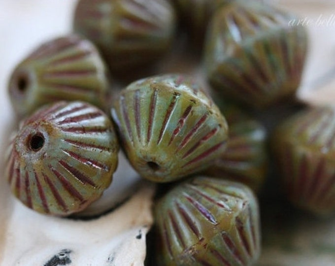 LICHEN BLUES .. 10 Picasso Czech Glass Bi cone Beads 11x10mm (3649-10)