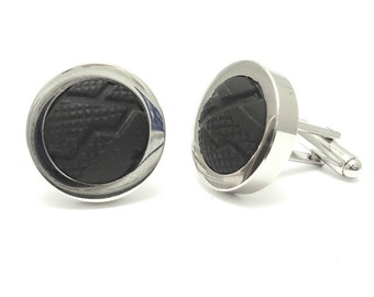 Bike Tyre Cufflinks - Cufflinks made from real bicycle tyres, Cycling Gift Cufflinks, Sport Cufflinks, silver plated