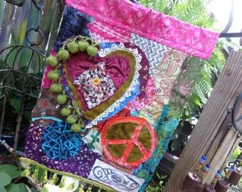Peace love flag, prayer flag, hippie wedding, birth flag, wedding flag, love flag, batik flag,  C59, Hippie festival, gypsy, boho wedding