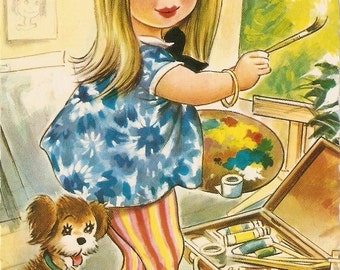 """Taylor Tots vintage postcard - Bamforth """"It's fashionable to paint, these days"""" by Taylor Bamforth  Series PC # K306 artist signed Taylor"""
