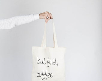Screenprinted Canvas Tote Bag / But First, Coffee And Crochet