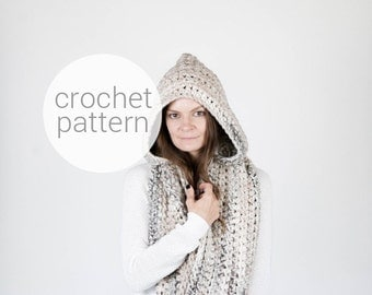 Pattern / Ozetta Crochet Hooded Infinity Scarf Pattern Instant Download For The Manitoba
