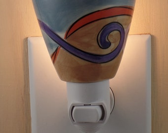 Demitasse Cup Stoneware With Modern Pattern In Red, Purple, Tan & Blue Custom Made Night Light