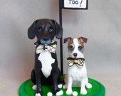 RESERVED RUSH ORDER for ***Heidi Calvin*** Custom Made Clay 2 Dog Wedding Cake Topper Golfing