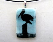 Pelican Necklace | Fused Glass Pendant | Bird Art | Beach Scene Glass | Nature Scene | Ocean Life | Sea Glass Art | Shorebird Charm