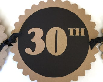 30th Birthday Banner - Happy 30th Birthday - Kraft Brown, Black or Your Choice of Colors