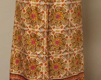 Vintage colorful wrap pants very wide leg palazzo style elastic/ribbon tie waist M/L