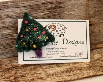 Needle Felted Christmas Tree Pin, Felted Christmas Tree Brooch, Felted Jewelry # 1668
