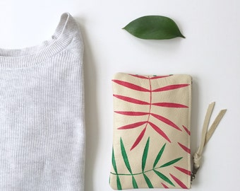 Mini Palm Print Leather Zipper Pouch