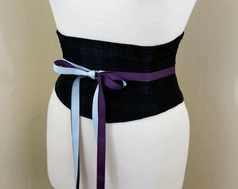 Plaid Waist Cincher Corset Obi Belt Black Taffeta Any Size Reversible Lace Up