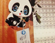 Vintage Japan Kawaii Big Eyed Reminding Panda Toy Set Mint in Box