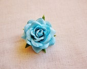Turquoise blue Sweetheart Rose Millinery flower Brooch Pin- wedding corsage boutonniere, paper jewelry, decoration, embellishment