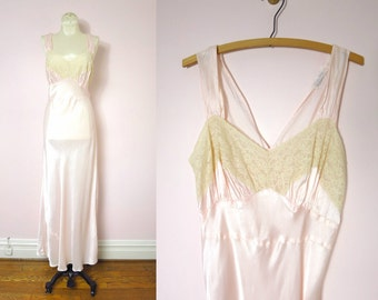 Vintage 40s Bias Gown   1940s Pale Pink Satin Gown Nightgown L