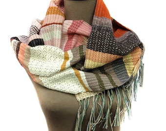 Ceci | Modern Woven Womens Scarf | Handwoven Unisex Fashion | Woven Scarf Pastels | Fresh Striped Textile Gifts | Pantone Weaving Fashion
