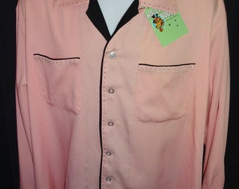 Cool 1950's Reproduction Two Tone Rockabilly Rock and Roll Shirt L/XL 48""