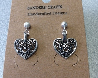 Filigree Heart Earrings with Sterling Silver Earring Posts