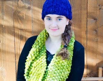 Lettuce Green Cowl Infinity Scarf in Super Soft Wool