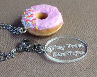 Handmade Donut Charm - Available on Necklace, Clasp or Keyring - Birthday Gift