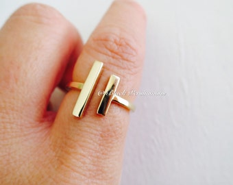Natural Bronze Parallel Bars Adjustable Ring - Insurance Included