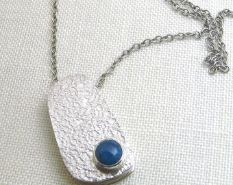 Blue Lapis Stone Sterling Silver Necklace Pendant