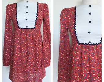 Sweet 70s Calico Prairie Dress - 1970s Red Floral Mini Dress