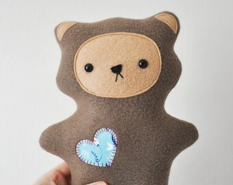Plush Teddy Bear with Turquoise Heart - READY TO SHIP