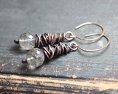 Rutilated Quartz Earrings Antiqued Copper Electroformed Earrings Wire Wrapped Rustic Jewelry