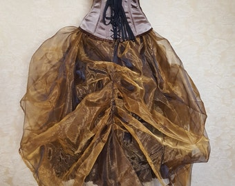 Bronze Gold Shot Organza Steampunk Full Length Tie On Bustle Skirt-One Size Fits All