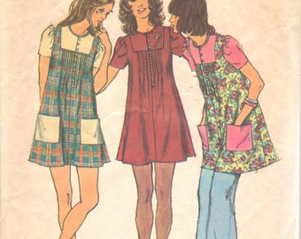 1970s  Simplicity 5063 Misses Mini Smock Dress Pattern UNCUT Womens Vintage Sewing Pattern Size 10 Bust 32 NO ENVELOPE