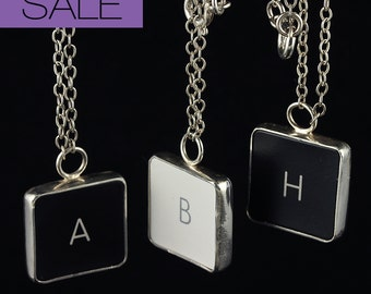 SALE - Computer Key Jewelry - rePURPOSED MacBook Letter Necklace (H) 80% OFF