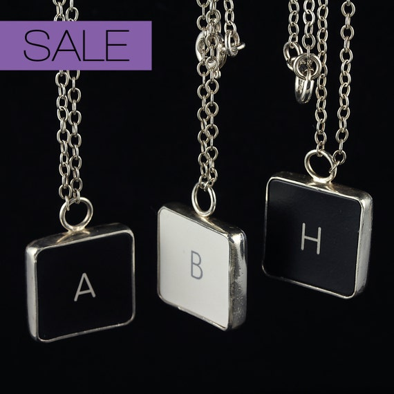 SALE - Computer Key Jewelry - rePURPOSED MacBook Letter Necklace (a, b, h) 75% OFF