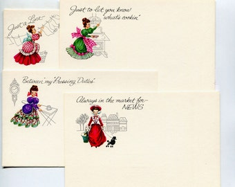 Victorian Lady Note Cards 1960s Post Cards 35 Post A Notes in Original Box Kitchen Ironing Washing Cooking News French Poodle Stationery