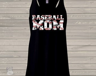 Baseball mom DARK flowy tank top with trendy distressed lettering - great gift for birthday or Mother's Day
