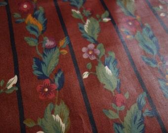 Vintage Chintz Fabric, Half Yd of 1980s P. Kaufman Metropolitan Museum of Art Design in Dark Burgundy Wine Floral with Stripe, Glazed Cotton